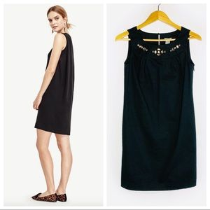 Ann Taylor Jeweled Neck Sleeveless Shift Dress